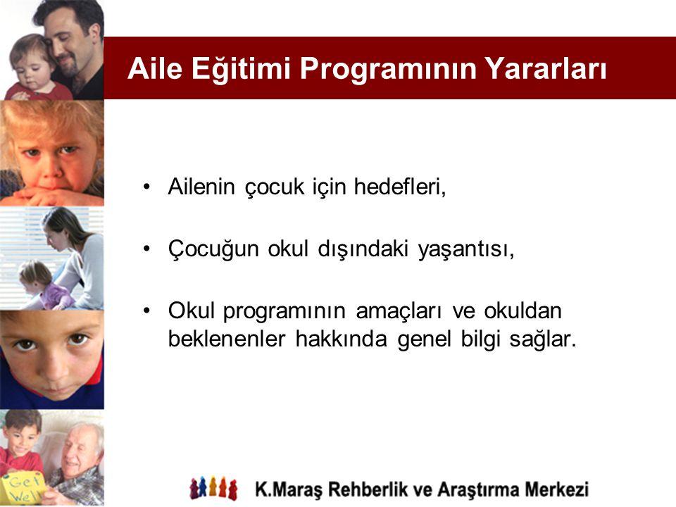Aile Eğitimi Programının Yararları Ailenin çocuk için hedefleri, Çocuğun okul dışındaki yaşantısı, Okul programının amaçları ve okuldan beklenenler ha