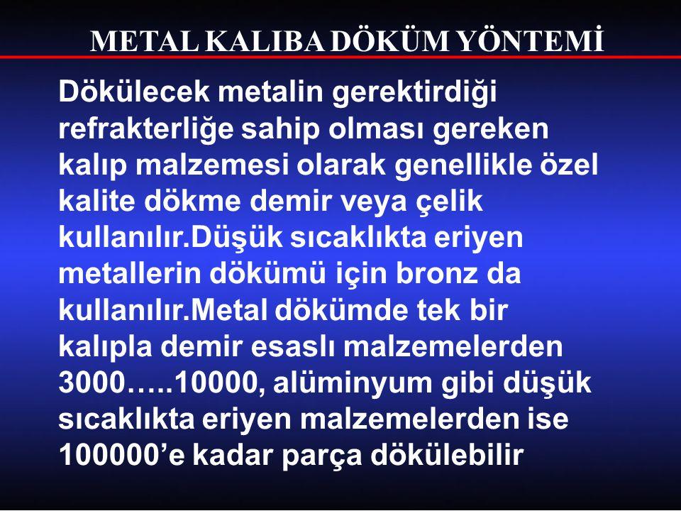 METAL KALIBA DÖKÜM YÖNTEMİ Dökülecek metalin gerektirdiği refrakterliğe sahip olması gereken kalıp malzemesi olarak genellikle özel kalite dökme demir