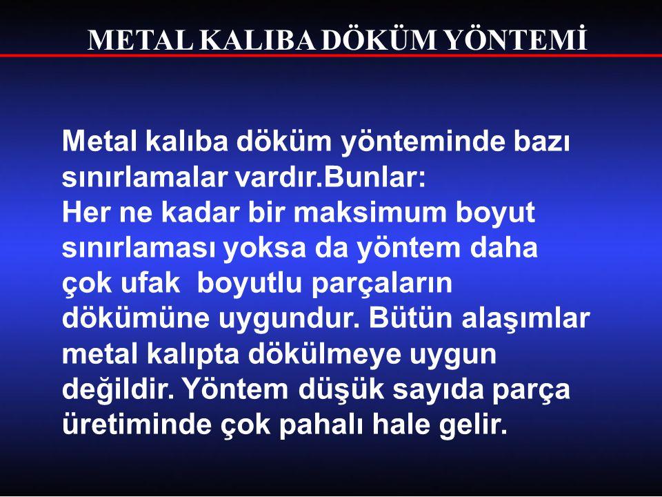METAL KALIBA DÖKÜM YÖNTEMİ Metal kalıpta dökümü yapılabilen başlıca metal ve alaşımları; alüminyum ve alaşımları, magnezyum ve alaşımları, çinko ve alaşımları, dökme demirler.