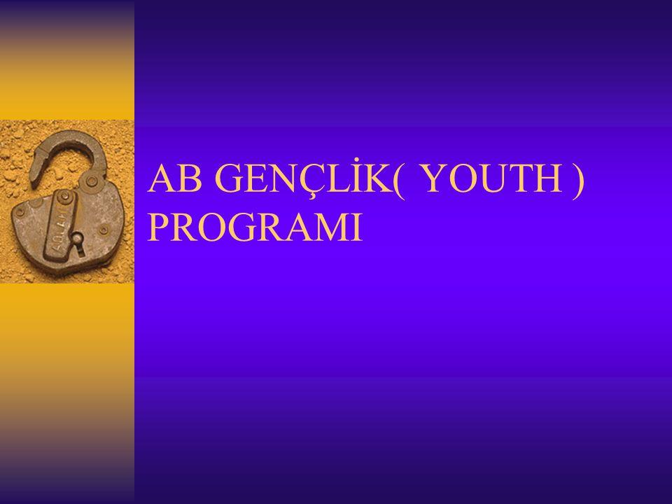 Gençlik Programının Amaç ve İlkeleri  Gençlerin toplumla bütünleşmelerini kolaylaştırmak ve girişimcilik ruhunu teşvik etmek.