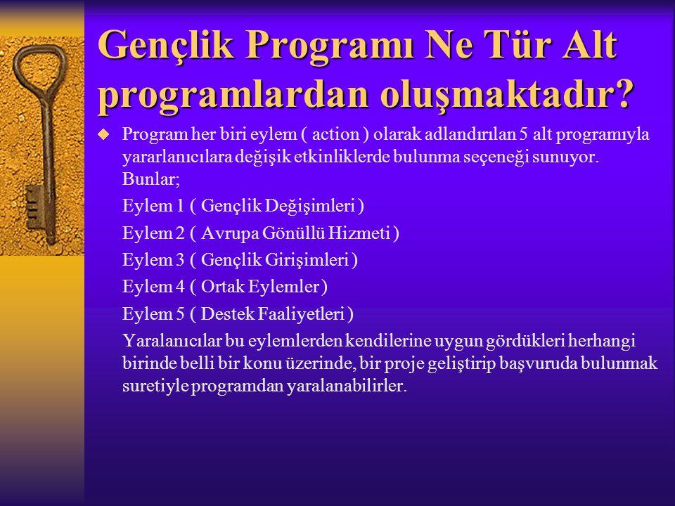 Gençlik Programı Ne Tür Alt programlardan oluşmaktadır?  Program her biri eylem ( action ) olarak adlandırılan 5 alt programıyla yararlanıcılara deği