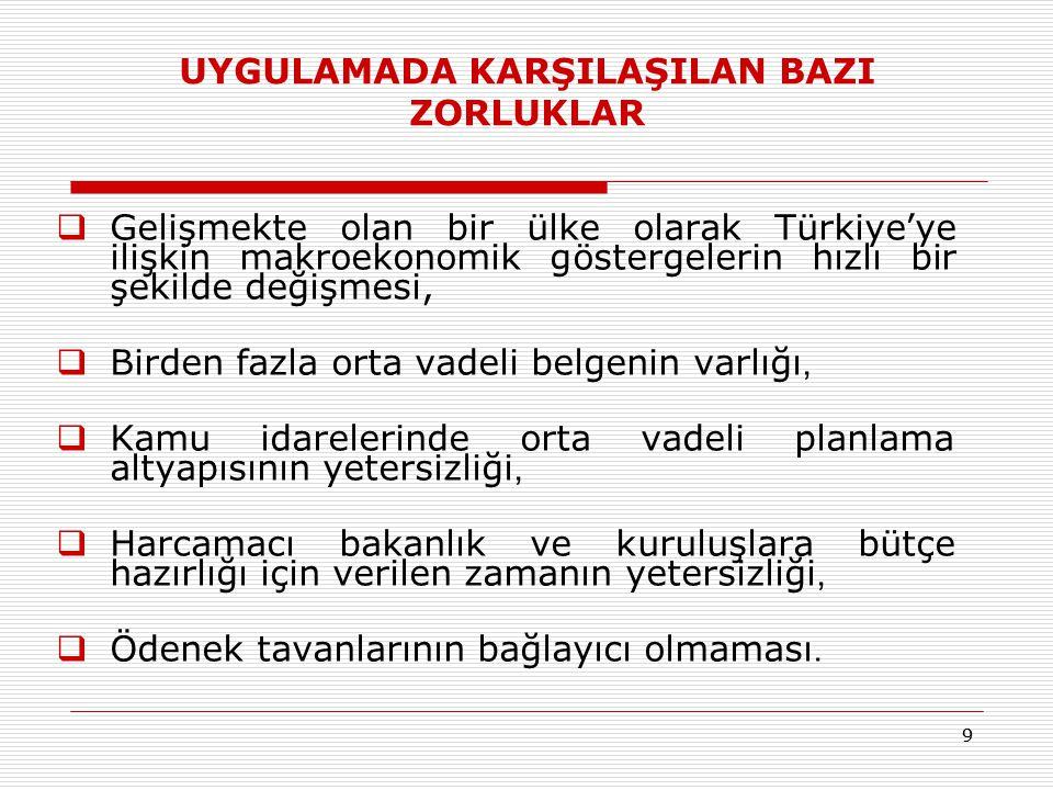 99 UYGULAMADA KARŞILAŞILAN BAZI ZORLUKLAR  Gelişmekte olan bir ülke olarak Türkiye'ye ilişkin makroekonomik göstergelerin hızlı bir şekilde değişmesi