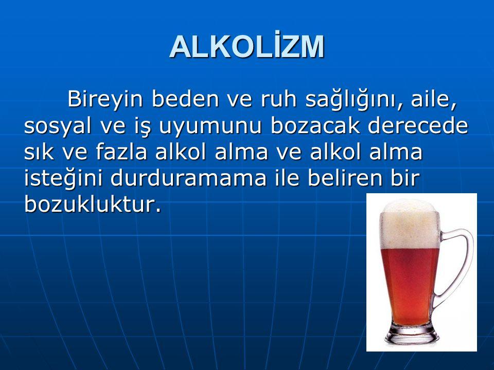 ALKOL Alkol, diğer bazı zehirleyici maddeler gibi, keyif verici(geçici bir durumdur), alışkanlık ve iptila yaratan bir maddedir. İçki olarak kullanıla