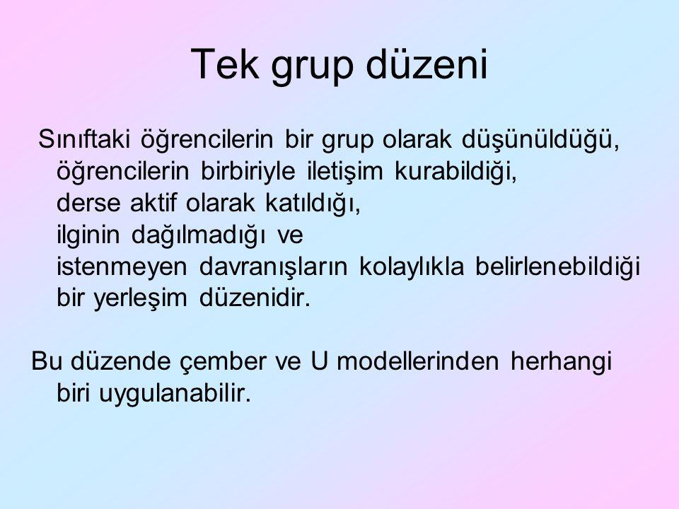 Tek grup düzeni Sınıftaki öğrencilerin bir grup olarak düşünüldüğü, öğrencilerin birbiriyle iletişim kurabildiği, derse aktif olarak katıldığı, ilgini