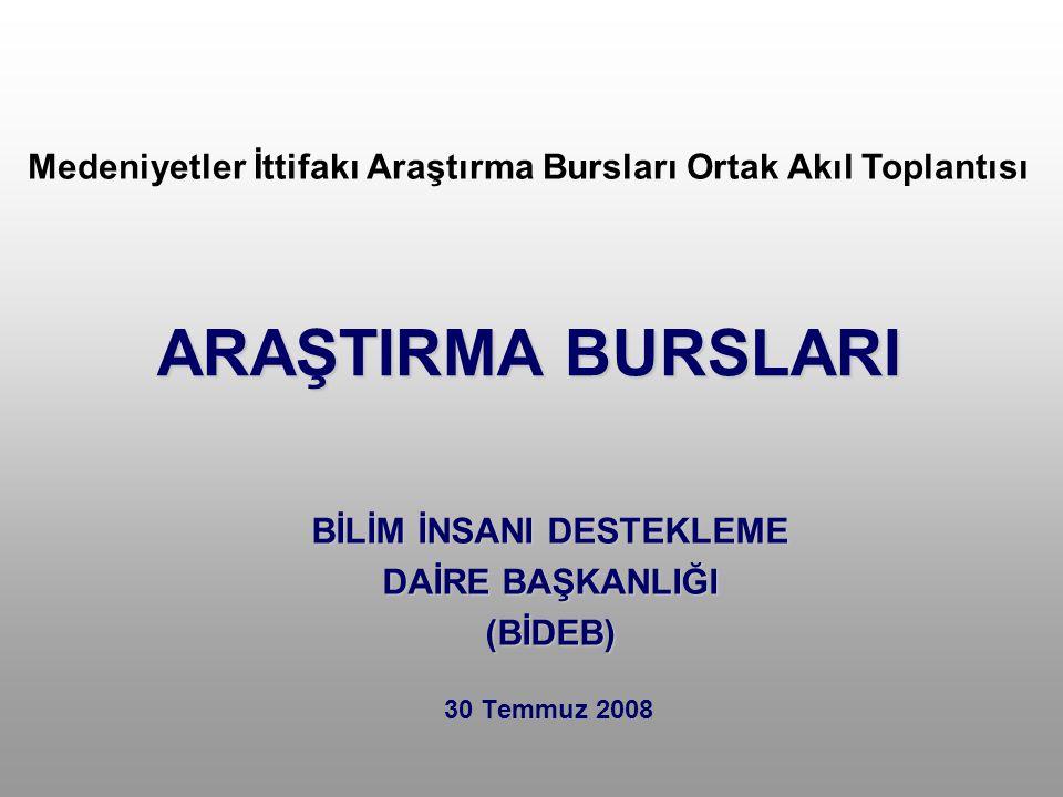 ARAŞTIRMA BURSLARI 30 Temmuz 2008 BİLİM İNSANI DESTEKLEME DAİRE BAŞKANLIĞI (BİDEB) Medeniyetler İttifakı Araştırma Bursları Ortak Akıl Toplantısı