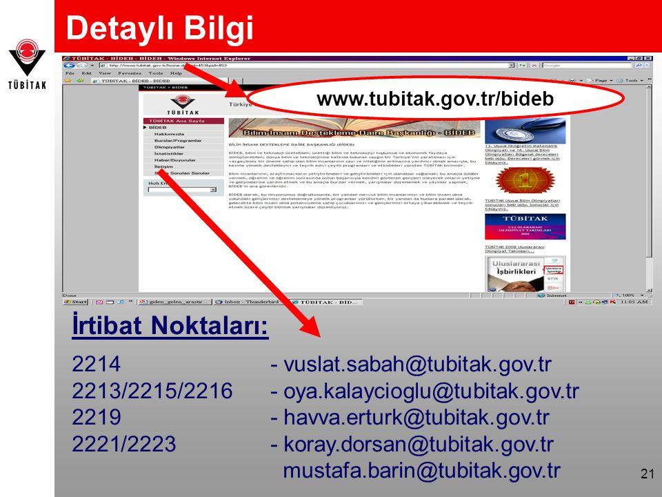 21 Detaylı Bilgi www.tubitak.gov.tr/bideb İrtibat Noktaları: 2214 - vuslat.sabah@tubitak.gov.tr 2213/2215/2216 - oya.kalaycioglu@tubitak.gov.tr 2219 - havva.erturk@tubitak.gov.tr 2221/2223 - koray.dorsan@tubitak.gov.tr mustafa.barin@tubitak.gov.tr