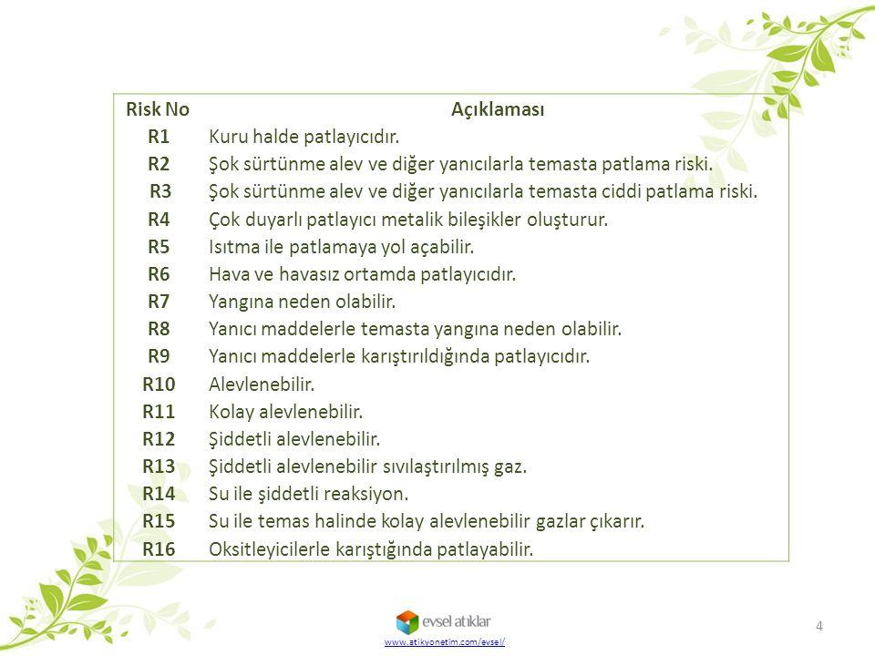 Risk No Açıklaması R1 Kuru halde patlayıcıdır. R2 Şok sürtünme alev ve diğer yanıcılarla temasta patlama riski. R3Şok sürtünme alev ve diğer yanıcılar