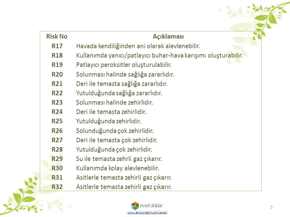 Risk No Açıklaması R17 Havada kendiliğinden ani olarak alevlenebilir. R18 Kullanımda yanıcı/patlayıcı buhar-hava karışımı oluşturabilir. R19 Patlayıcı