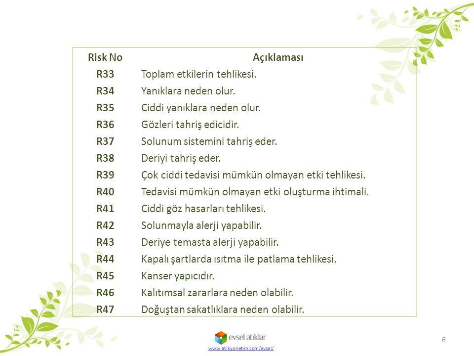 Risk No Açıklaması R33 Toplam etkilerin tehlikesi. R34 Yanıklara neden olur. R35 Ciddi yanıklara neden olur. R36 Gözleri tahriş edicidir. R37 Solunum