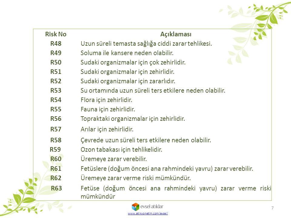 Risk No Açıklaması R48 Uzun süreli temasta sağlığa ciddi zarar tehlikesi. R49 Soluma ile kansere neden olabilir. R50 Sudaki organizmalar için çok zehi