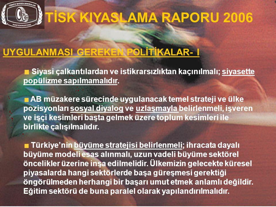 36 TİSK KIYASLAMA RAPORU 2006 UYGULANMASI GEREKEN POLİTİKALAR- I Siyasi çalkantılardan ve istikrarsızlıktan kaçınılmalı; siyasette popülizme sapılmama