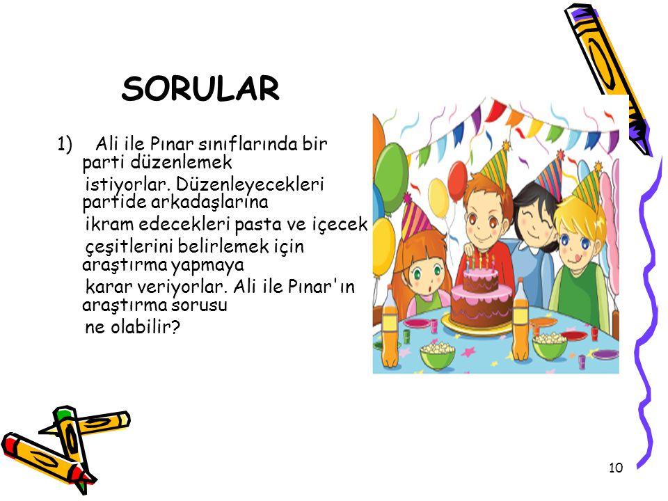 10 SORULAR 1) Ali ile Pınar sınıflarında bir parti düzenlemek istiyorlar.