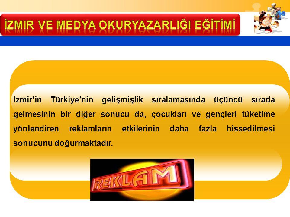 Izmir'in Türkiye'nin gelişmişlik sıralamasında üçüncü sırada gelmesinin bir diğer sonucu da, çocukları ve gençleri tüketime yönlendiren reklamların et