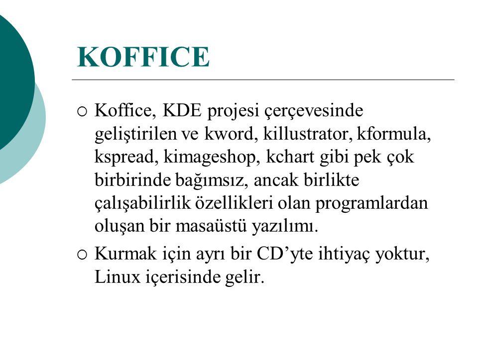KOFFICE  Koffice, KDE projesi çerçevesinde geliştirilen ve kword, killustrator, kformula, kspread, kimageshop, kchart gibi pek çok birbirinde bağımsız, ancak birlikte çalışabilirlik özellikleri olan programlardan oluşan bir masaüstü yazılımı.