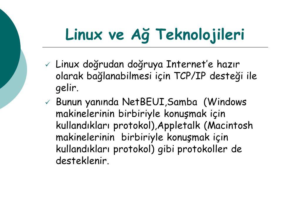 Linux ve Ağ Teknolojileri Linux doğrudan doğruya Internet'e hazır olarak bağlanabilmesi için TCP/IP desteği ile gelir.