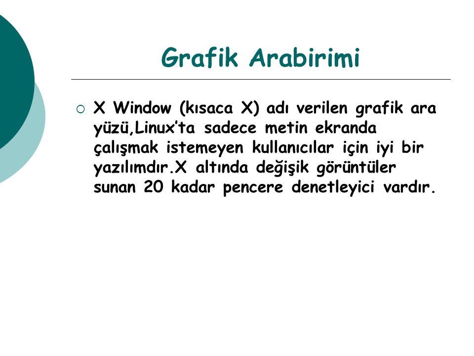 Grafik Arabirimi  X Window (kısaca X) adı verilen grafik ara yüzü,Linux'ta sadece metin ekranda çalışmak istemeyen kullanıcılar için iyi bir yazılımdır.X altında değişik görüntüler sunan 20 kadar pencere denetleyici vardır.