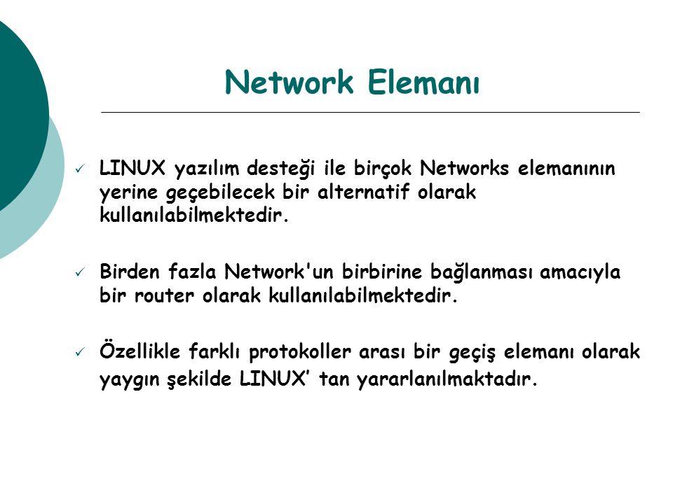 Network Elemanı LINUX yazılım desteği ile birçok Networks elemanının yerine geçebilecek bir alternatif olarak kullanılabilmektedir.