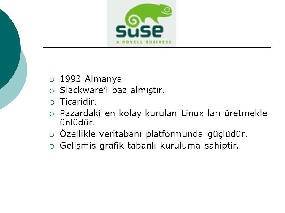  1993 Almanya  Slackware'i baz almıştır. Ticaridir.