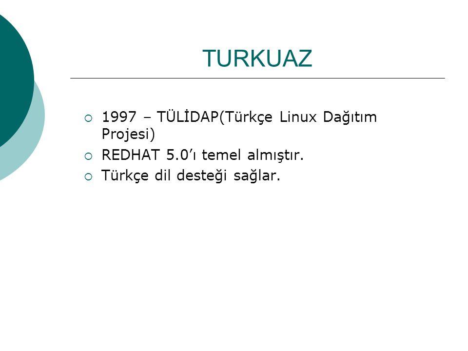 TURKUAZ  1997 – TÜLİDAP(Türkçe Linux Dağıtım Projesi)  REDHAT 5.0'ı temel almıştır.