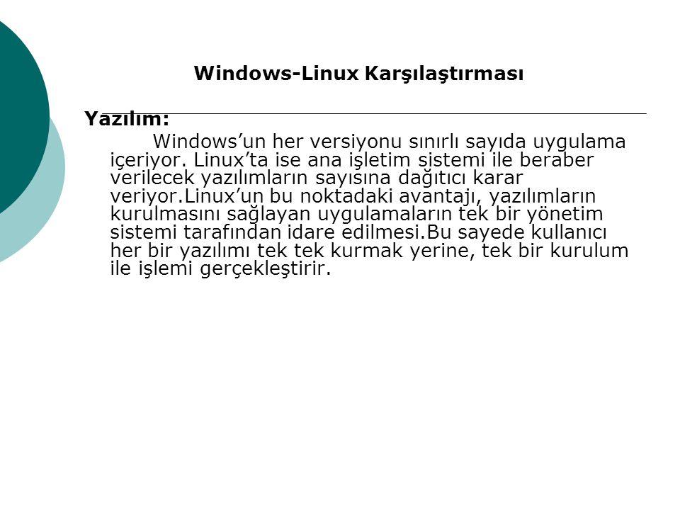 Windows-Linux Karşılaştırması Yazılım: Windows'un her versiyonu sınırlı sayıda uygulama içeriyor.