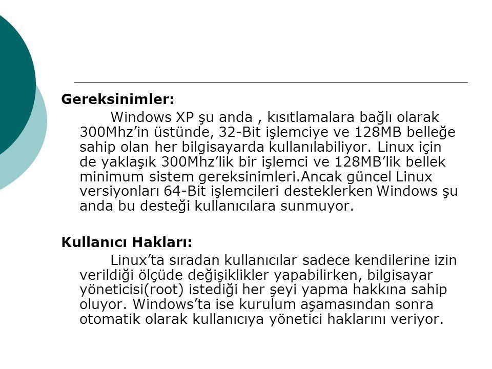 Gereksinimler: Windows XP şu anda, kısıtlamalara bağlı olarak 300Mhz'in üstünde, 32-Bit işlemciye ve 128MB belleğe sahip olan her bilgisayarda kullanılabiliyor.