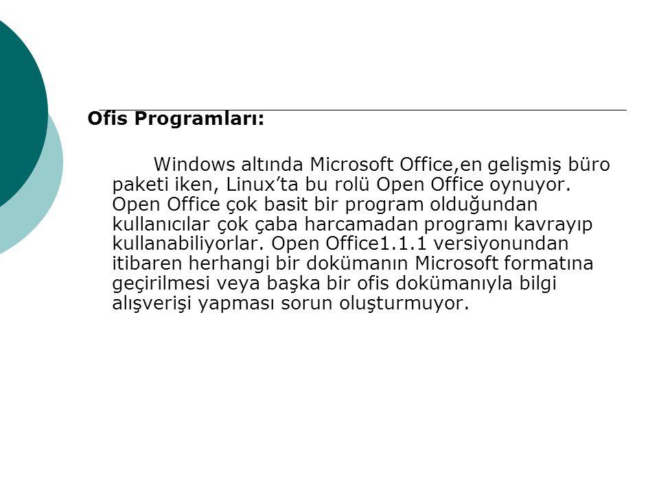 Ofis Programları: Windows altında Microsoft Office,en gelişmiş büro paketi iken, Linux'ta bu rolü Open Office oynuyor.