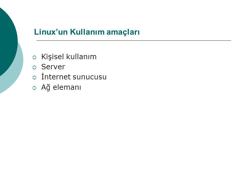Linux'un Kullanım amaçları  Kişisel kullanım  Server  İnternet sunucusu  Ağ elemanı