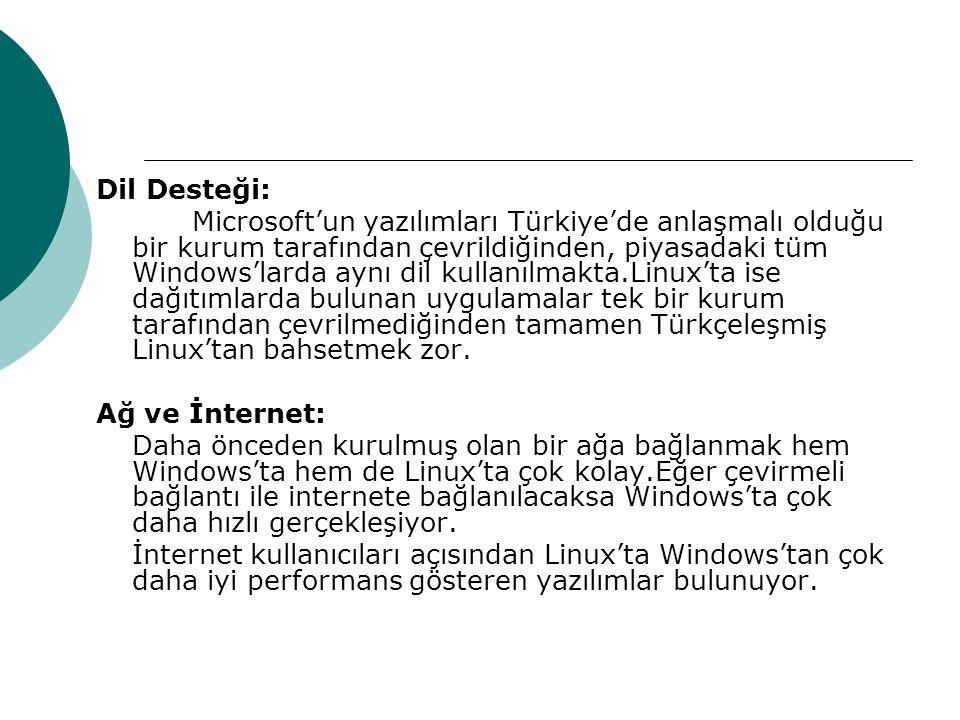 Dil Desteği: Microsoft'un yazılımları Türkiye'de anlaşmalı olduğu bir kurum tarafından çevrildiğinden, piyasadaki tüm Windows'larda aynı dil kullanılmakta.Linux'ta ise dağıtımlarda bulunan uygulamalar tek bir kurum tarafından çevrilmediğinden tamamen Türkçeleşmiş Linux'tan bahsetmek zor.