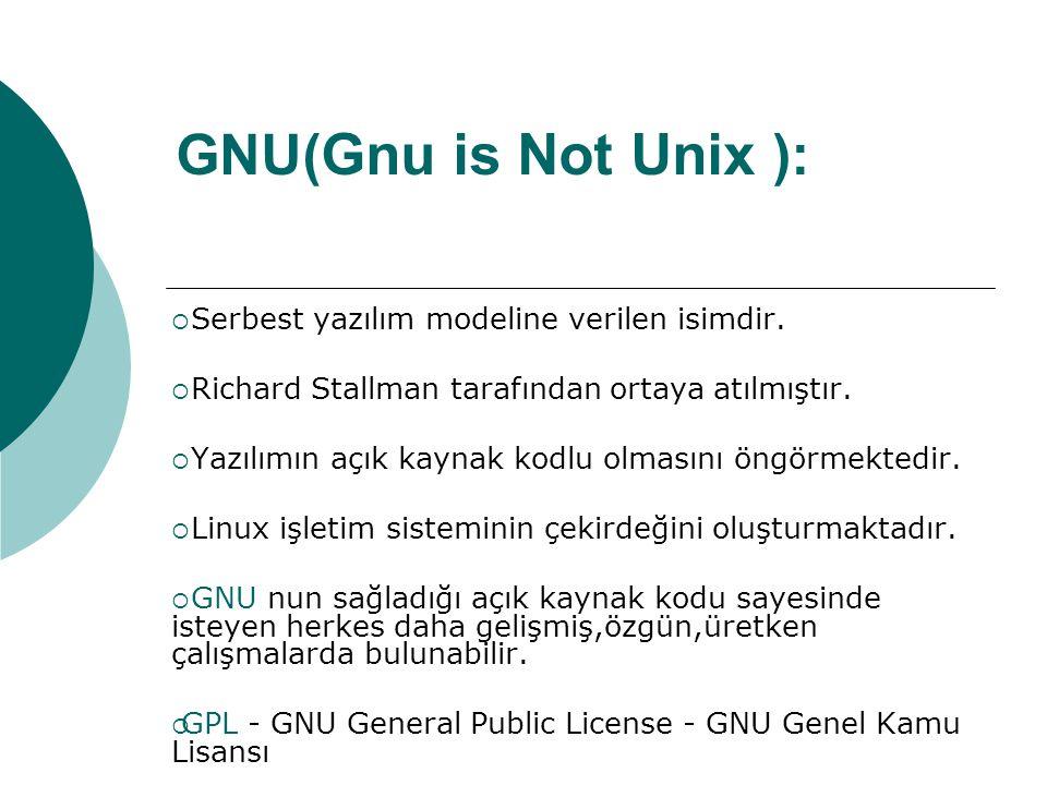 GNU( Gnu is Not Unix ):  Serbest yazılım modeline verilen isimdir.