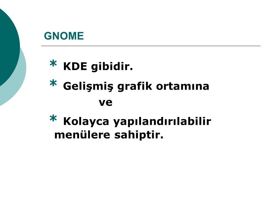 GNOME * KDE gibidir. * Gelişmiş grafik ortamına ve * Kolayca yapılandırılabilir menülere sahiptir.