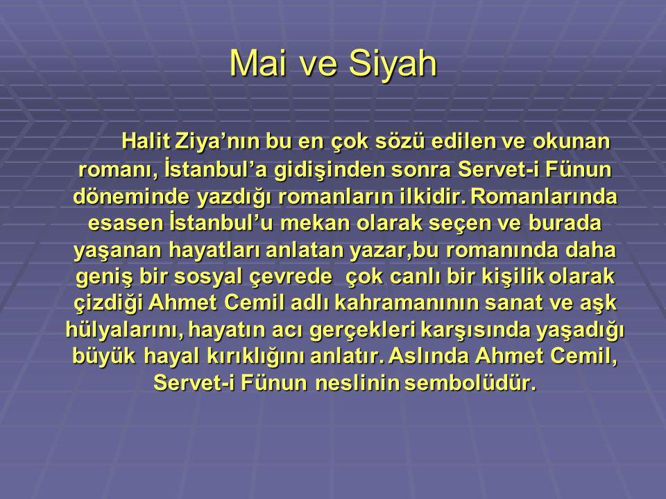 Mai ve Siyah Halit Ziya'nın bu en çok sözü edilen ve okunan romanı, İstanbul'a gidişinden sonra Servet-i Fünun döneminde yazdığı romanların ilkidir. R