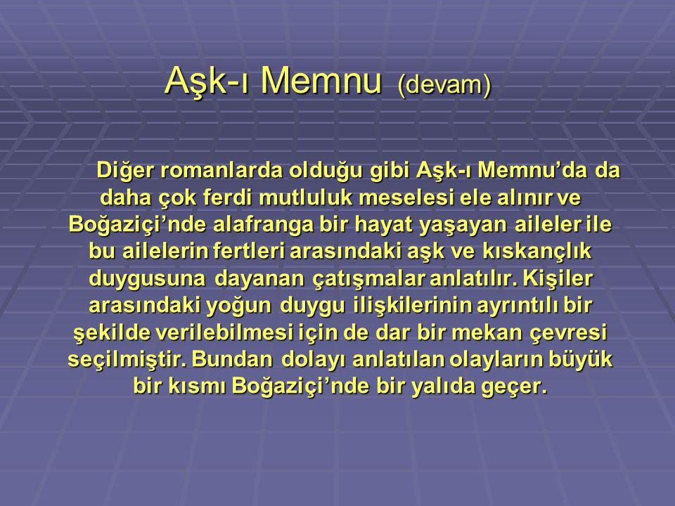 Aşk-ı Memnu (devam) Diğer romanlarda olduğu gibi Aşk-ı Memnu'da da daha çok ferdi mutluluk meselesi ele alınır ve Boğaziçi'nde alafranga bir hayat yaş