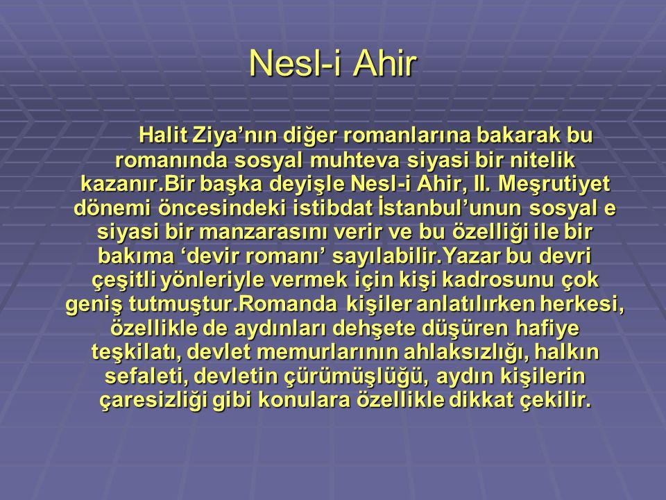 Nesl-i Ahir Halit Ziya'nın diğer romanlarına bakarak bu romanında sosyal muhteva siyasi bir nitelik kazanır.Bir başka deyişle Nesl-i Ahir, II. Meşruti