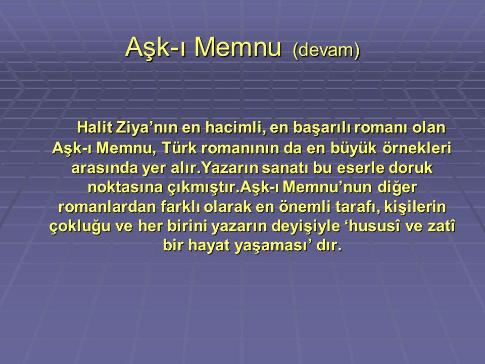 Aşk-ı Memnu (devam) Halit Ziya'nın en hacimli, en başarılı romanı olan Aşk-ı Memnu, Türk romanının da en büyük örnekleri arasında yer alır.Yazarın san