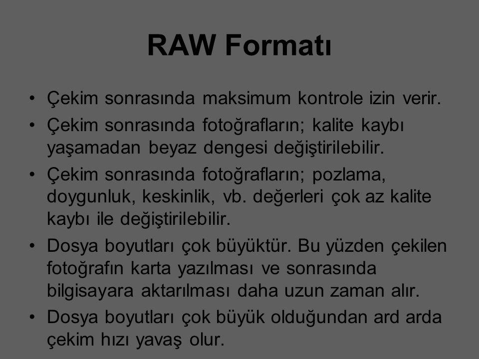 RAW Formatı Çekim sonrasında maksimum kontrole izin verir. Çekim sonrasında fotoğrafların; kalite kaybı yaşamadan beyaz dengesi değiştirilebilir. Çeki