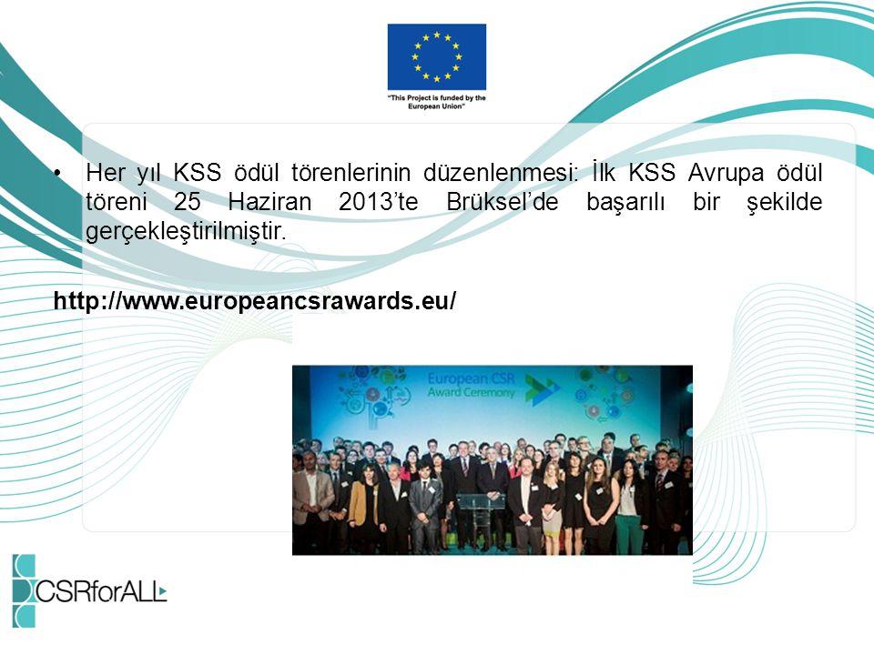 Her yıl KSS ödül törenlerinin düzenlenmesi: İlk KSS Avrupa ödül töreni 25 Haziran 2013'te Brüksel'de başarılı bir şekilde gerçekleştirilmiştir. http:/
