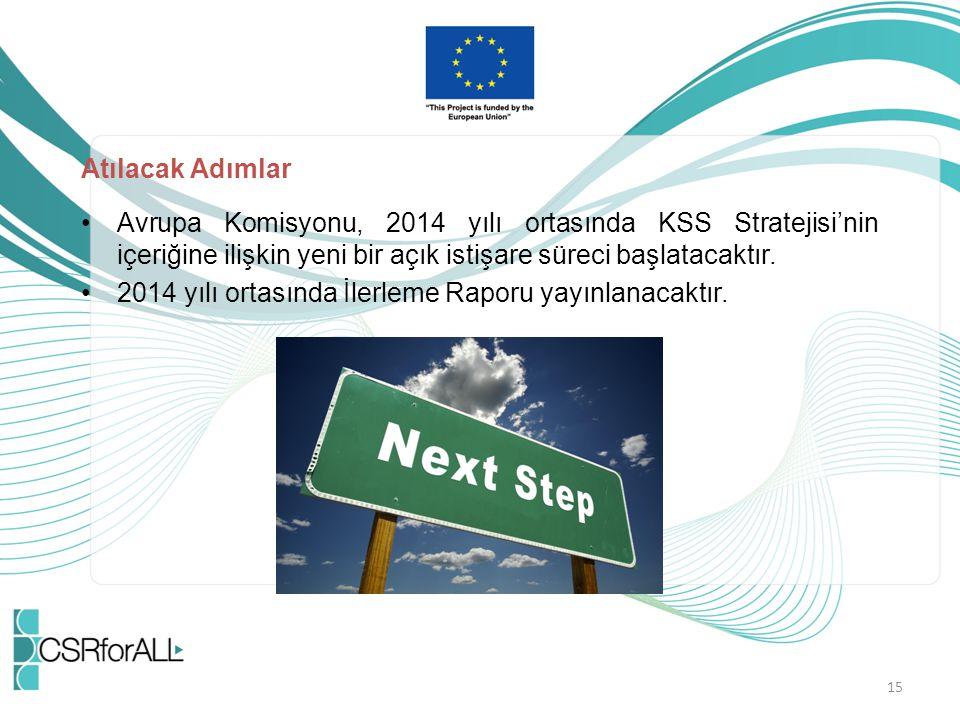 Atılacak Adımlar Avrupa Komisyonu, 2014 yılı ortasında KSS Stratejisi'nin içeriğine ilişkin yeni bir açık istişare süreci başlatacaktır. 2014 yılı ort