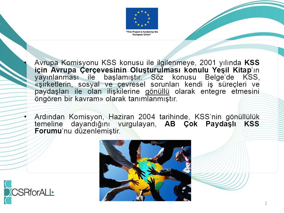 Avrupa Komisyonu KSS konusu ile ilgilenmeye, 2001 yılında KSS için Avrupa Çerçevesinin Oluşturulması konulu Yeşil Kitap'ın yayınlanması ile başlamıştı