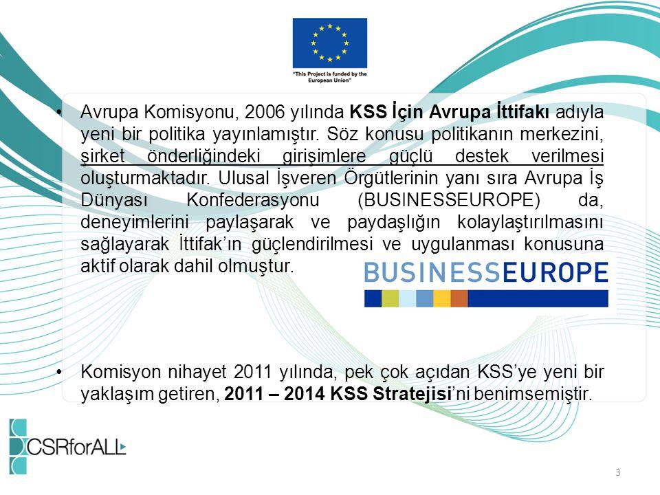 Avrupa Komisyonu, 2006 yılında KSS İçin Avrupa İttifakı adıyla yeni bir politika yayınlamıştır. Söz konusu politikanın merkezini, şirket önderliğindek