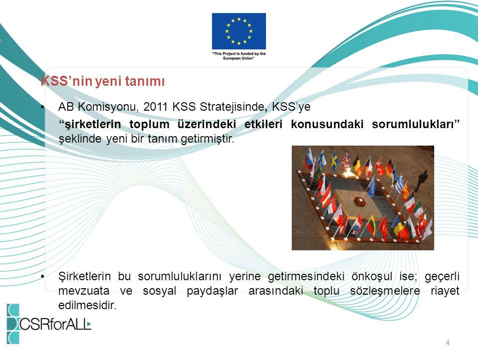 """KSS'nin yeni tanımı AB Komisyonu, 2011 KSS Stratejisinde, KSS'ye """"şirketlerin toplum üzerindeki etkileri konusundaki sorumlulukları"""" şeklinde yeni bir"""
