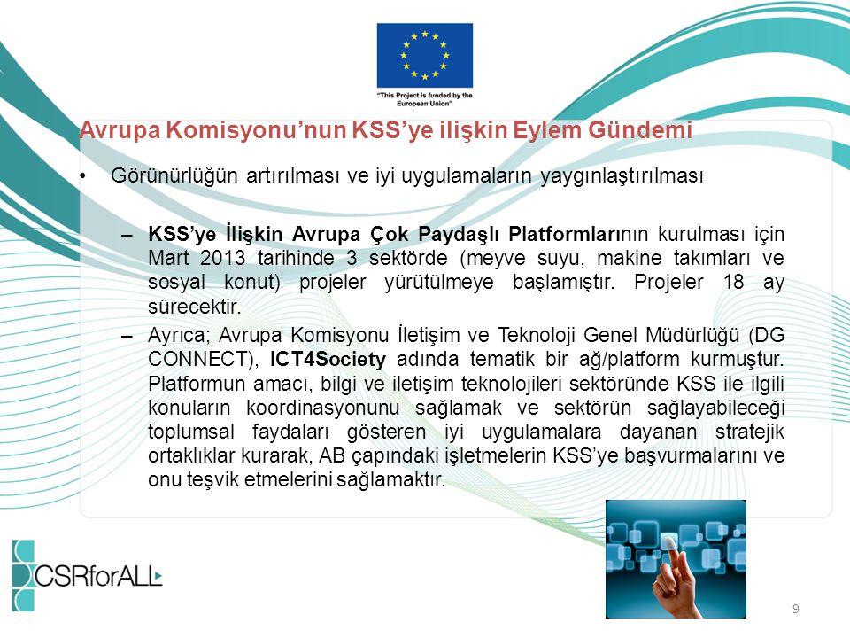 Avrupa Komisyonu'nun KSS'ye ilişkin Eylem Gündemi Görünürlüğün artırılması ve iyi uygulamaların yaygınlaştırılması –KSS'ye İlişkin Avrupa Çok Paydaşlı