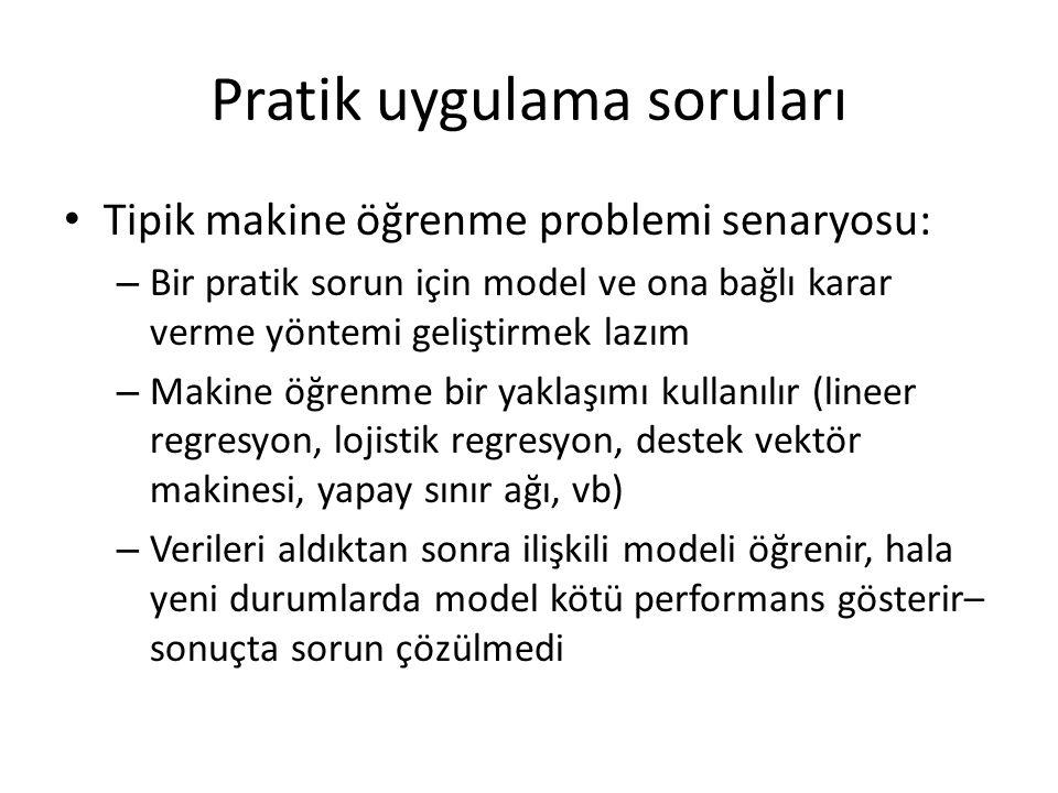 Pratik uygulama soruları Tipik makine öğrenme problemi senaryosu: – Bir pratik sorun için model ve ona bağlı karar verme yöntemi geliştirmek lazım – M