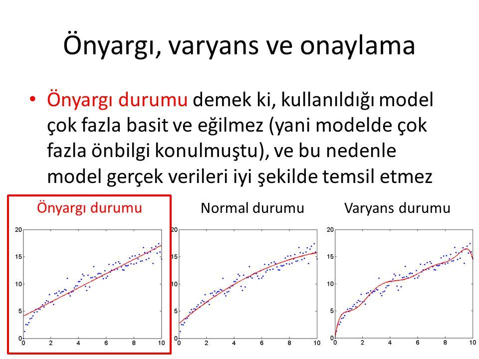 Önyargı, varyans ve onaylama Önyargı durumu demek ki, kullanıldığı model çok fazla basit ve eğilmez (yani modelde çok fazla önbilgi konulmuştu), ve bu