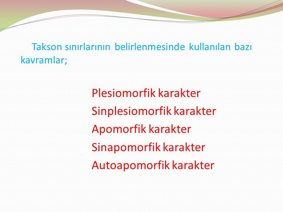 Takson sınırlarının belirlenmesinde kullanılan bazı kavramlar; Plesiomorfik karakter Sinplesiomorfik karakter Apomorfik karakter Sinapomorfik karakter
