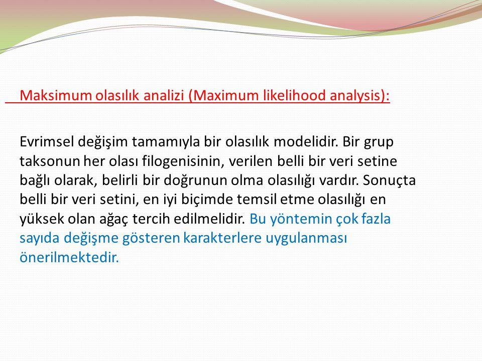 Maksimum olasılık analizi (Maximum likelihood analysis): Evrimsel değişim tamamıyla bir olasılık modelidir. Bir grup taksonun her olası filogenisinin,
