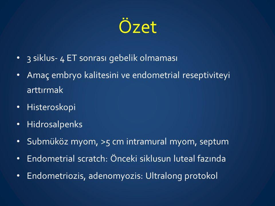 Özet 3 siklus- 4 ET sonrası gebelik olmaması Amaç embryo kalitesini ve endometrial reseptiviteyi arttırmak Histeroskopi Hidrosalpenks Submüköz myom, >