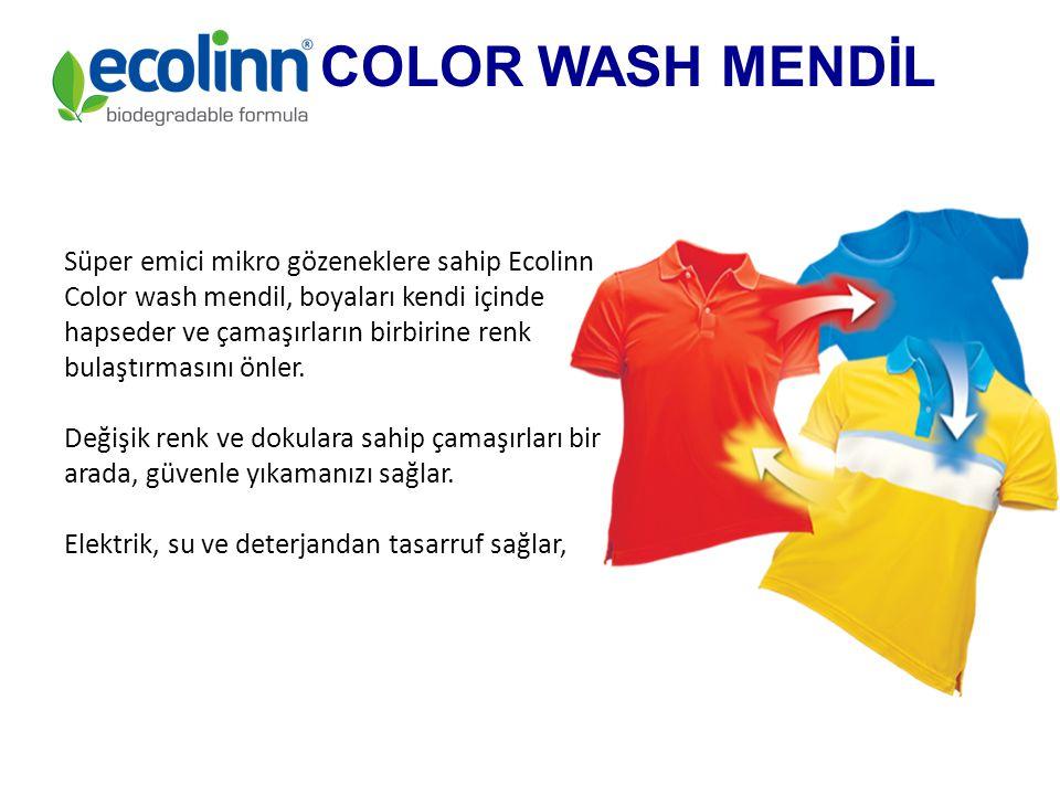 Süper emici mikro gözeneklere sahip Ecolinn Color wash mendil, boyaları kendi içinde hapseder ve çamaşırların birbirine renk bulaştırmasını önler.
