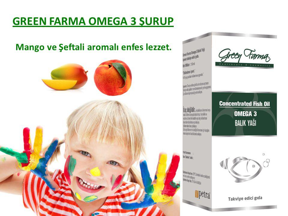 Mango ve Şeftali aromalı enfes lezzet. GREEN FARMA OMEGA 3 ŞURUP
