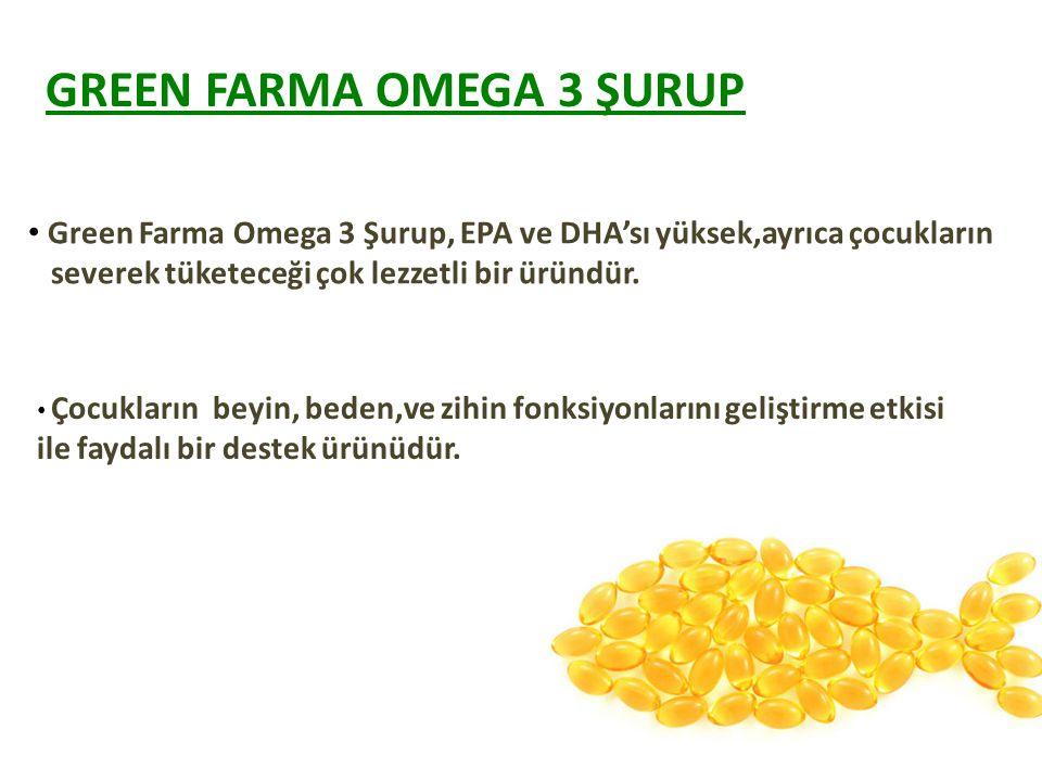 Green Farma Omega 3 Şurup, EPA ve DHA'sı yüksek,ayrıca çocukların severek tüketeceği çok lezzetli bir üründür.