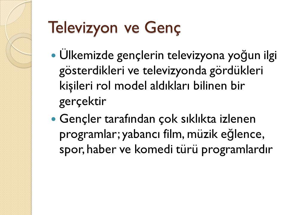 Televizyon ve Genç Ülkemizde gençlerin televizyona yo ğ un ilgi gösterdikleri ve televizyonda gördükleri kişileri rol model aldıkları bilinen bir gerç